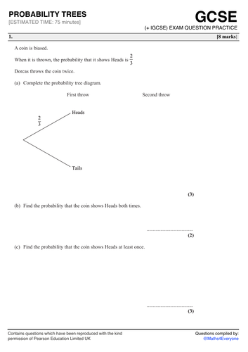Gcse 9 1 Exam Question Practice Probability Trees Teaching Resources