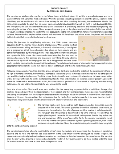 The Little Prince By Antoine De Saint Exupery Summary Reading
