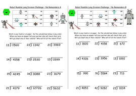 Long Division KS2 Y6 - differentiated challenges inc. missing digits, word  problems, presentation