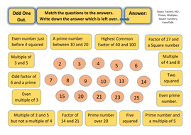 Odd One Out Worksheet Prime Numbers Multiples Squares Factors