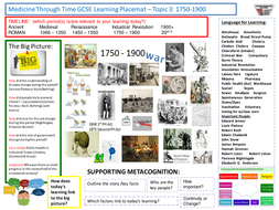9-1 Edexcel History Learning/Topic Placemats for the Medicine Through Time course - Topic 3