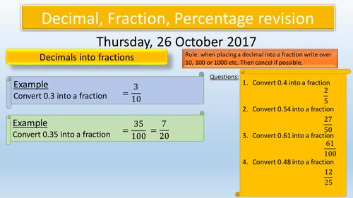 Decimal, Fraction & percentage conversions