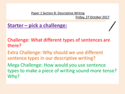 English Language - 1 Year AQA Paper 1 Writing Section B