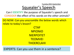 Analysis of Squealer's first speech in Animal Farm