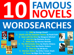 10 x Famous Novels Wordsearches English Literature Starter Settler Cover Wordsearch World Book Day