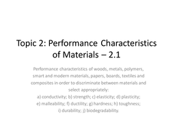 performance characteristics material properties by nthorogood