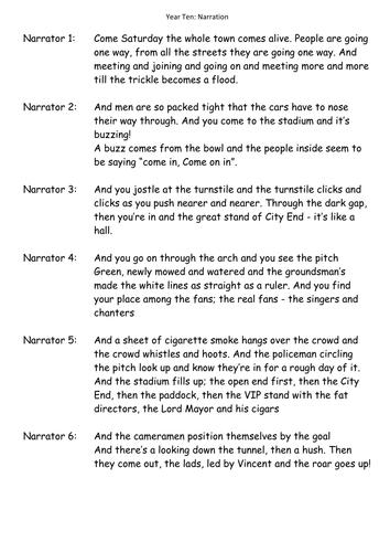 KS3/4: Drama: Introduction to Narration