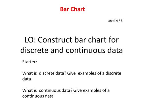 Bar Chart Discrete And Continuous Data By Edustem1 Teaching