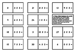 Multiplication loop dominos multiply by 3 4 6 7 8 9 - Domino table de multiplication ...