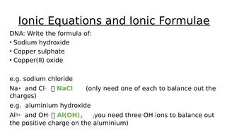 GCSE 1-9 Ionic Equations