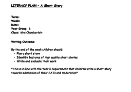 Year 6 Short Story Writing Unit of Work (2 lessons - 4 way differentiation)