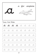 Set of cursive small letters a-a to z-z dot to dot worksheets with pictures