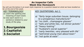 Inspector-Calls-Homework--Quotes--key-words-and-essays.pptx
