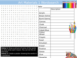 Art Materials 1 Wordsearch Art & Design Starter Settler Activity Homework Cover Lesson