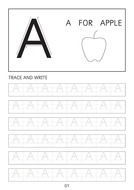 Set of simple letter A-a to Z-z line worksheets with pictures