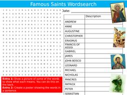 Famous Saints Wordsearch RE Religious Education Starter Settler Activity Homework Cover Lesson