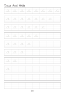 Set of cursive small letters a to z line worksheets sheets