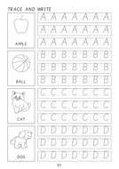 Cursive handwriting book 1 with letters, words and sentences