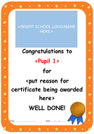 Certificate - Pupil of the Week, Awards
