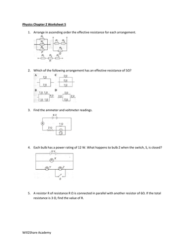 Ohm's Law in Parallel and Series Circuits with Bonus material resistance  Worksheets and Answers