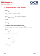 OCR Maths: Higher GCSE - Section Check In Test 3 Indices and surds
