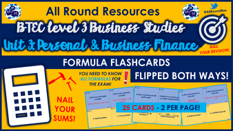 BTEC L3 Business: Unit 3 - Business Finance FORMULA FLASHCARDS!