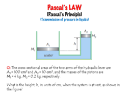 Pascal's LAW / (Pascal's Principle) - (Transmission of pressure in liquids)  - Lesson Presentation