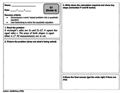 solving quadratic equations graded problem solving questions gcse