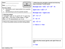 Solving Quadratic Equations - Worded and graded problem solving worksheet