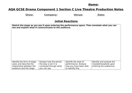 AQA GCSE Drama Component 1 Live Theatre Production Student Booklet