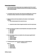 Salts Quantitative Worksheets (Moles, Mass, Volume, Molarity and ...