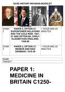 GCSE History Revision Book: Medicine, Cold War, Early Elizabethan England, Nazi Germany