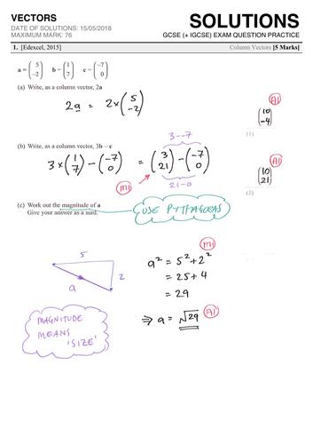 GCSE 9-1 Exam Question Practice (Vectors)