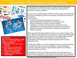 Transnational Companies Factsheet Geography Starter Activity Keywords KS3 GCSE Cover Multinational