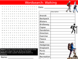 Walking Hiking Wordsearch PE Sports Physcial Education Starter Keywords Activity KS3 Cover Lesson