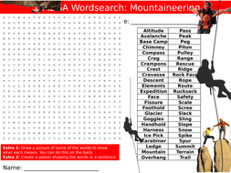 3 x Mountaineering Wordsearches PE Sports Starter Keywords Activity KS3 GCSE Cover Wordsearch