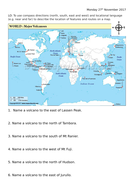 Finding and describing volcanoes locations on a world map