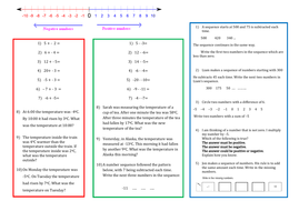 A Worksheet on Negative Numbers