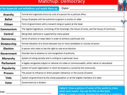 Democracy Definition Matchup British Values PSHE Starter Keywords Activity KS3 GCSE Cover Homework
