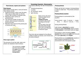 AQA 9 -1 GCSE BIOLOGY - Paper One Bioenergetics Knowledge Organiser