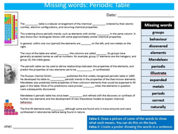 The periodic table missing words cloze science starter keywords the periodic table missing words cloze science starter keywords activity ks3 gcse cover homework urtaz
