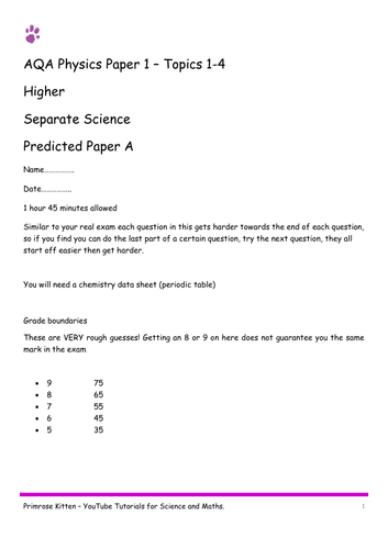 Sample Exam Papers. P1 (topics -1-4) AQA Physics paper 1 (combined and separate) 9-1 spec. Higher