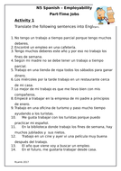 Spanish - Part time jobs - Worksheet - Trabajo a tiempo parcial
