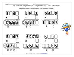 Multiply 4-digits by 1-digit Y5 Multiplication Free Taster