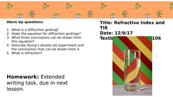 Refractive Index and Total Internal Reflection