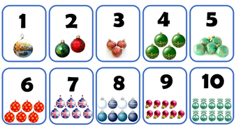 christmas baubles number cards 1 10 by gabbybalogh teaching
