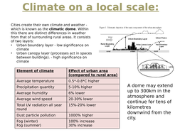 A LEVEL GEOGRAPHY URBAN CLIMATE NOTES