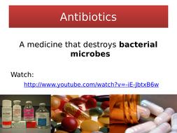 NEW AQA GCSE Biology : Antibiotics - presentation, comprehension and student sheet