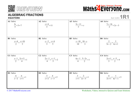 Gcse Revision Algebraic Fractions Solving Equations By