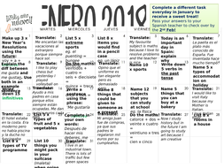one activity a day revision calendar spanish